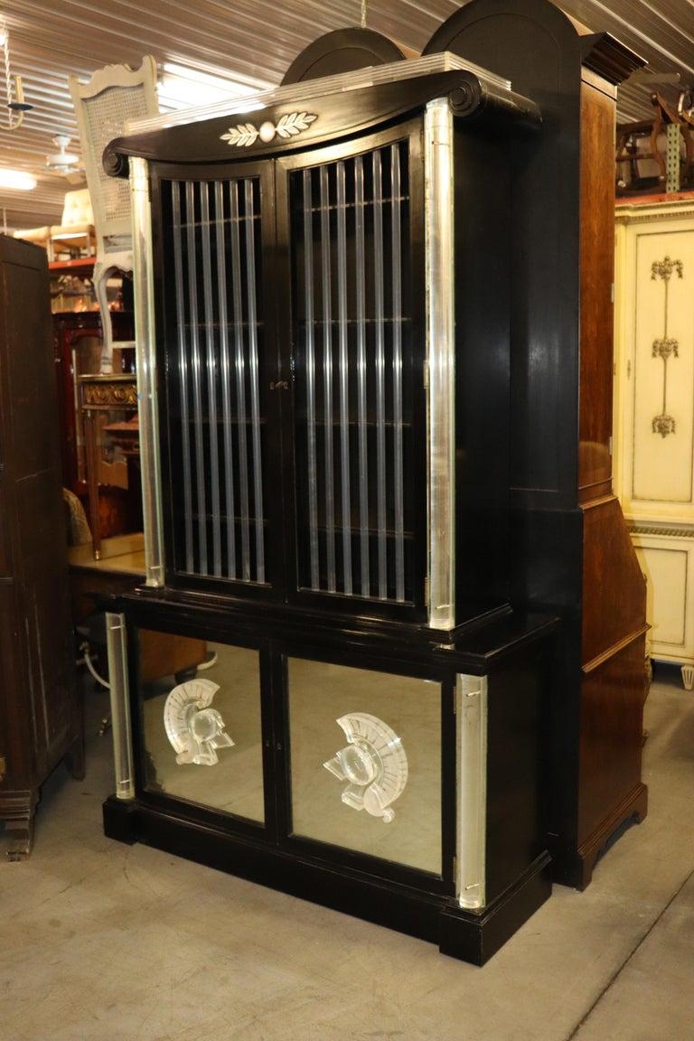 American Ebonized Lucite Mirrored Lorin Jackson Grosfeld House Hollywood Regency Vitrine For Sale