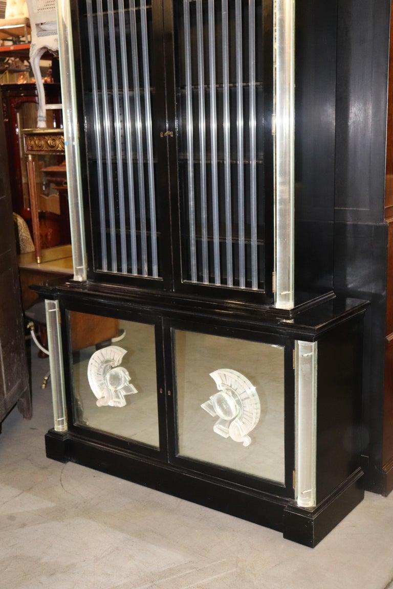 Mid-20th Century Ebonized Lucite Mirrored Lorin Jackson Grosfeld House Hollywood Regency Vitrine For Sale