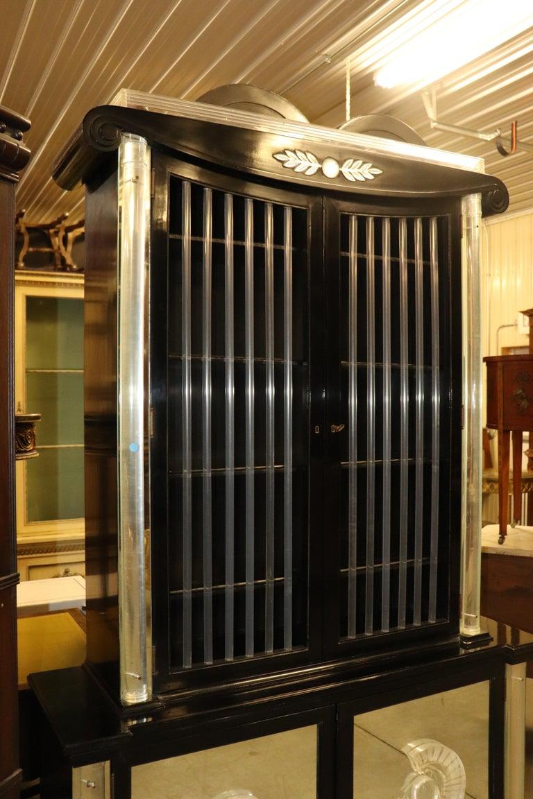 Mahogany Ebonized Lucite Mirrored Lorin Jackson Grosfeld House Hollywood Regency Vitrine For Sale