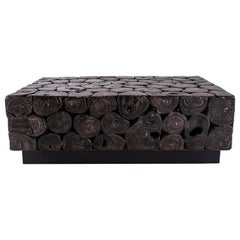 Ebonized Lyche Wood Slice Coffee Table