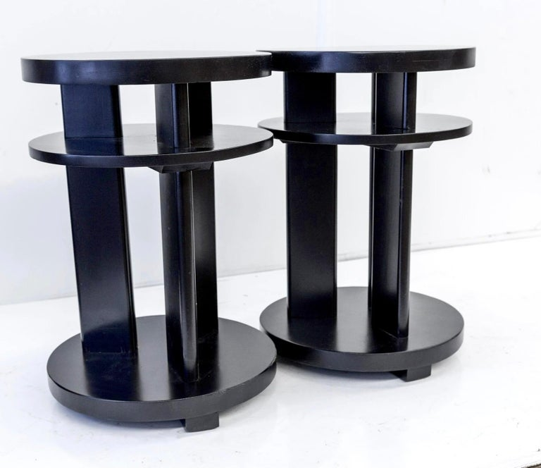 Ebonized mahogany tri-level occasional, side, or lamp table pair, Paul Laszlo, Brown Saltman Los Angeles, c. 1952.  A pioneering force in the evolution of California Modern, Paul László imbued the more rigid European modernism with plusher comfort