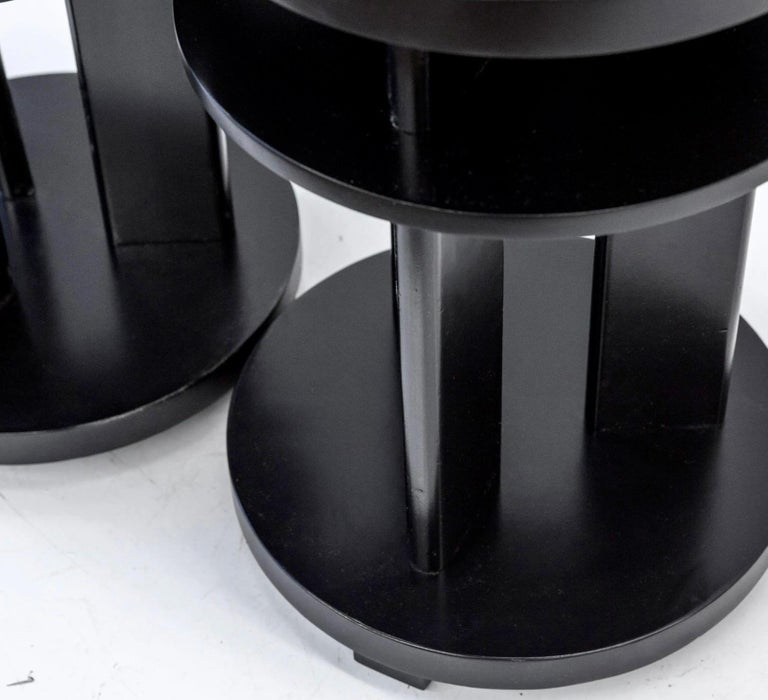 Mid-Century Modern Ebonized Mahogany Tri-Level Occasional, Side, or Lamp Table Pair, Paul Laszlo For Sale