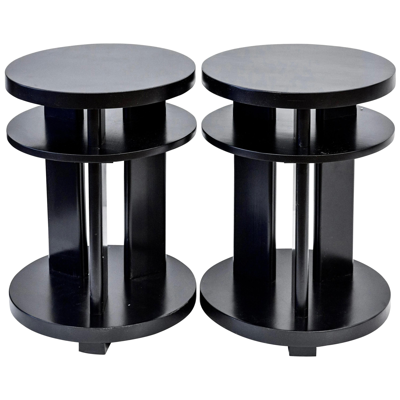 Ebonized Mahogany Tri-Level Occasional, Side, or Lamp Table Pair, Paul Laszlo