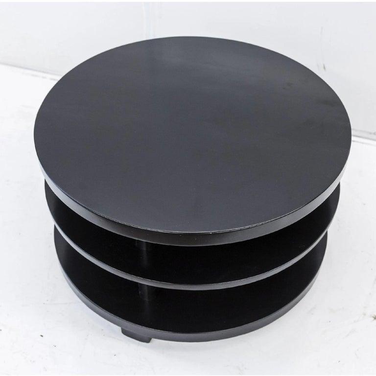 Mid-Century Modern Ebonized Mahogany Tri-Level Round Coffee Table, Paul Laszlo, Brown Saltman LA For Sale