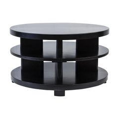 Ebonized Mahogany Tri-Level Round Coffee Table, Paul Laszlo, Brown Saltman LA