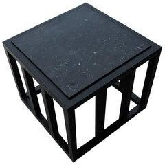 Ebonized Marble Side Table