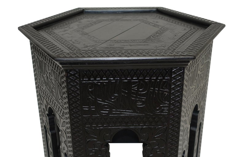 Ebonized Moorish Style Tabouret Side Table In Good Condition For Sale In San Francisco, CA