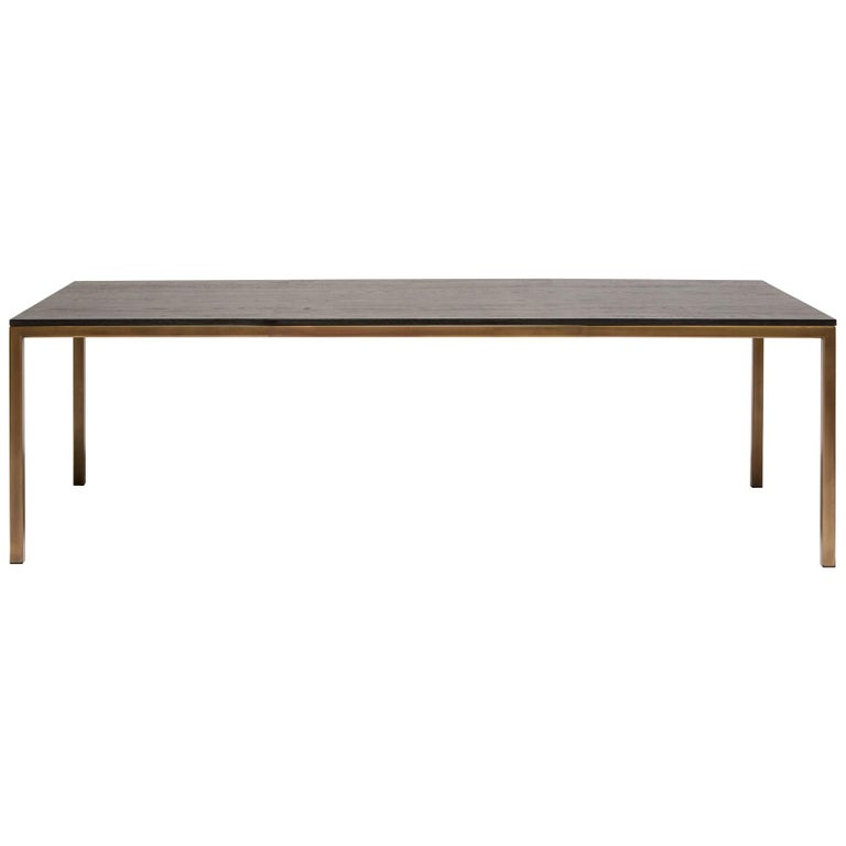 Ebonized Oak and Antique Brass Large Dining Table For Sale