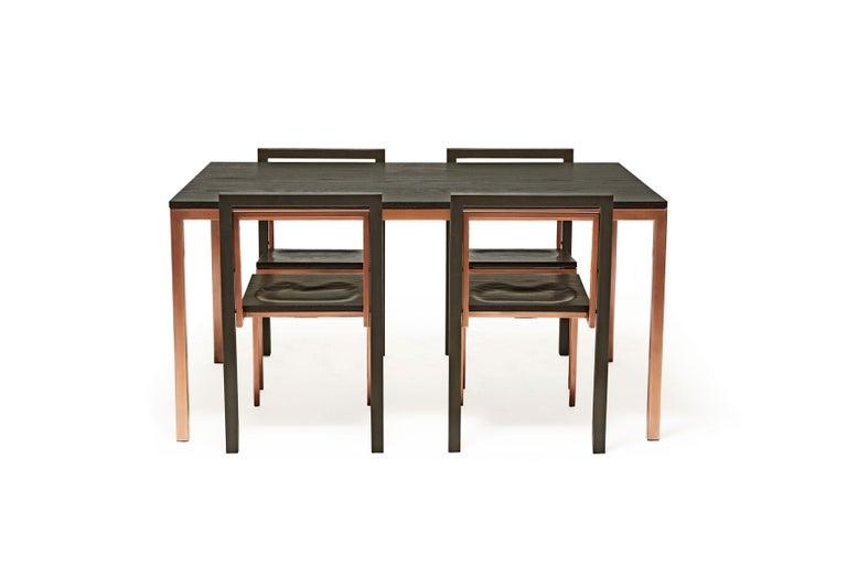 Modern Ebonized Oak and Antique Copper Dining Set For Sale