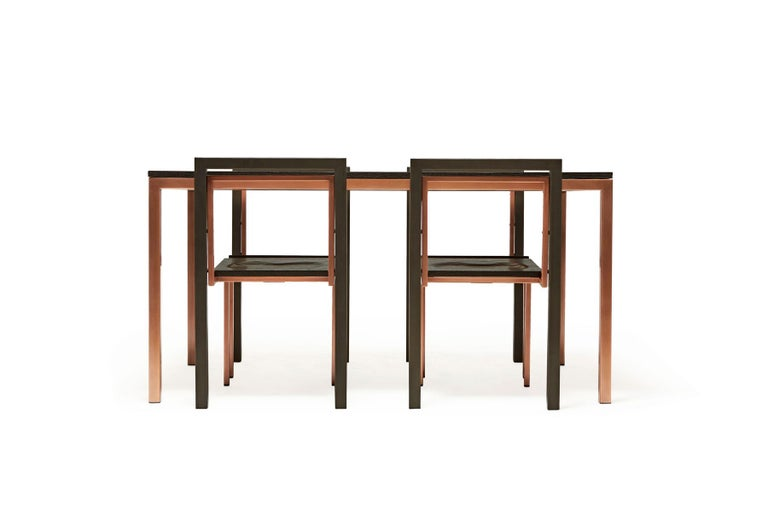 American Ebonized Oak and Antique Copper Dining Set For Sale