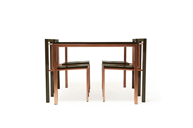 Plated Ebonized Oak and Antique Copper Dining Set For Sale