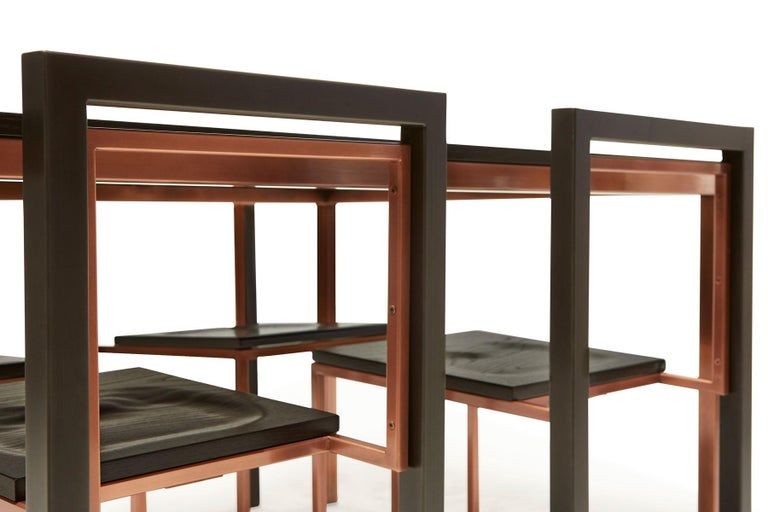 Ebonized Oak and Antique Copper Dining Set In New Condition For Sale In Los Angeles, CA