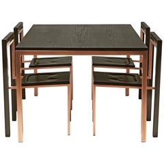Ebonized Oak and Antique Copper Dining Set