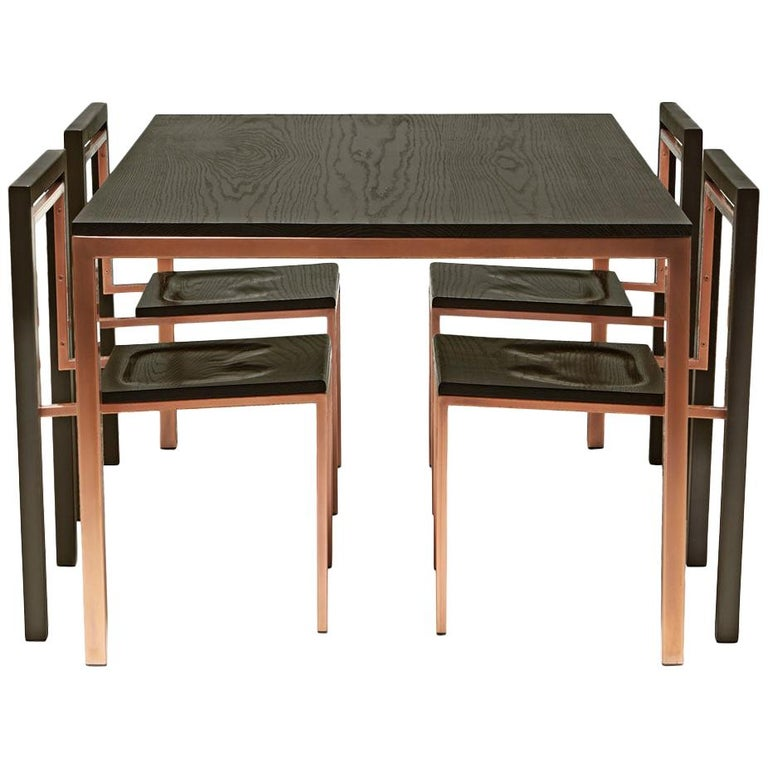 Ebonized Oak and Antique Copper Dining Set For Sale