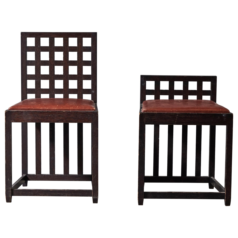 Ebonized Oak Chair and Stool