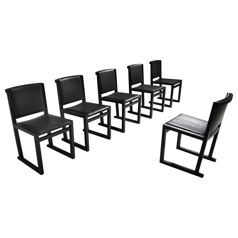 Ebonized Oak Dining Chairs by Antonio Citterio for Maxalto
