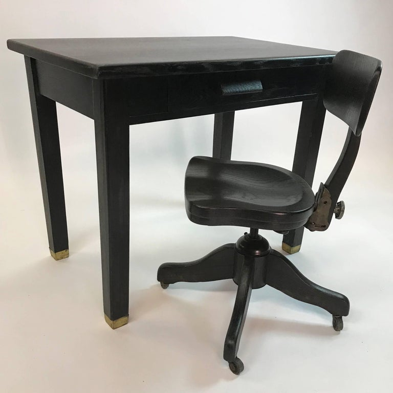Ebonized Oak Library Desk And Matching Chair Set For Sale At 1stdibs