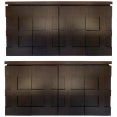 Raul Carrasco Ebonized Oak, Marble Top Block Front Cabinets, Pair
