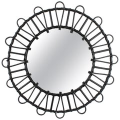 Ebonized Rattan and Wicker Circular Sunburst Mirror, Spain, 1960s