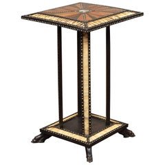 Ebonized Side Table with Porcupine Quill Inlay and Elephant Motif, circa 1900