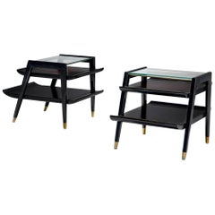 Ebonized Side Tables with Brass Feet