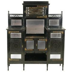 Ebonized Sideboard, Victorian Aesthetic Sideboard, Display Cabinet, 1880