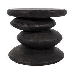 Ebonized Teak Drum Style End Table with off Set Circle Design
