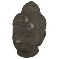 Ebonized Terracotta Meditating Shakyamuni Buddha Head Statue, 20th Century
