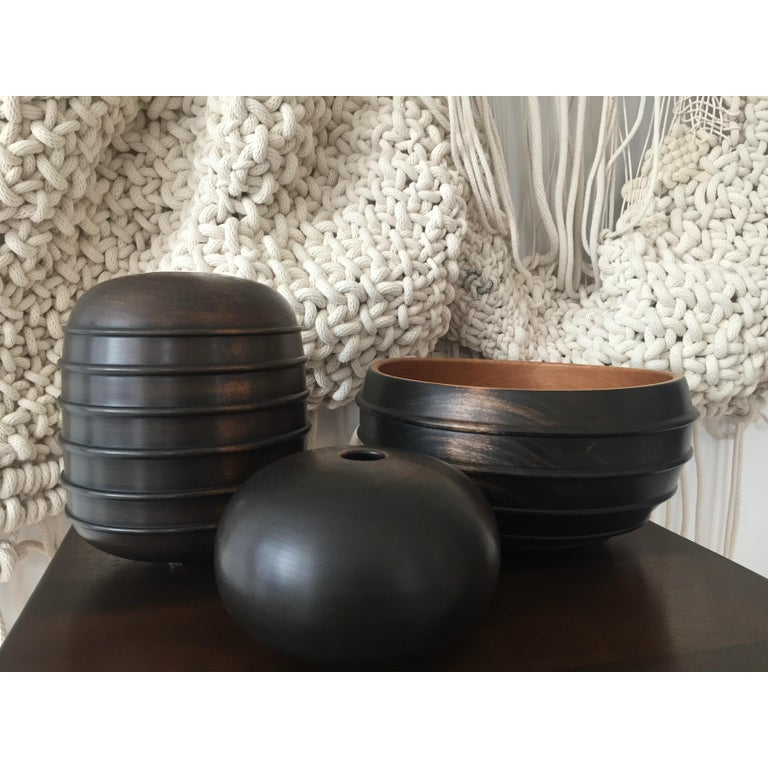 Contemporary Ebonized Turned Cherrywood 'Beaded' Vessel no. 3 For Sale