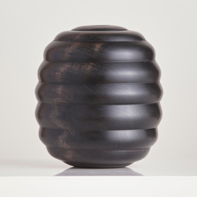 An exclusive series of beautifully turned and ebonized cherry wood bowls from Scott Alexander, of Alexander Designs. The artist's interpretation of an art deco beehive - the bowls are turned from green (unseasoned) timber to finished thickness. As