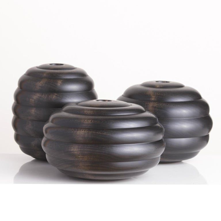 Ebonized Turned Cherrywood 'Hive' Vessel No. 2 In New Condition For Sale In Chicago, IL