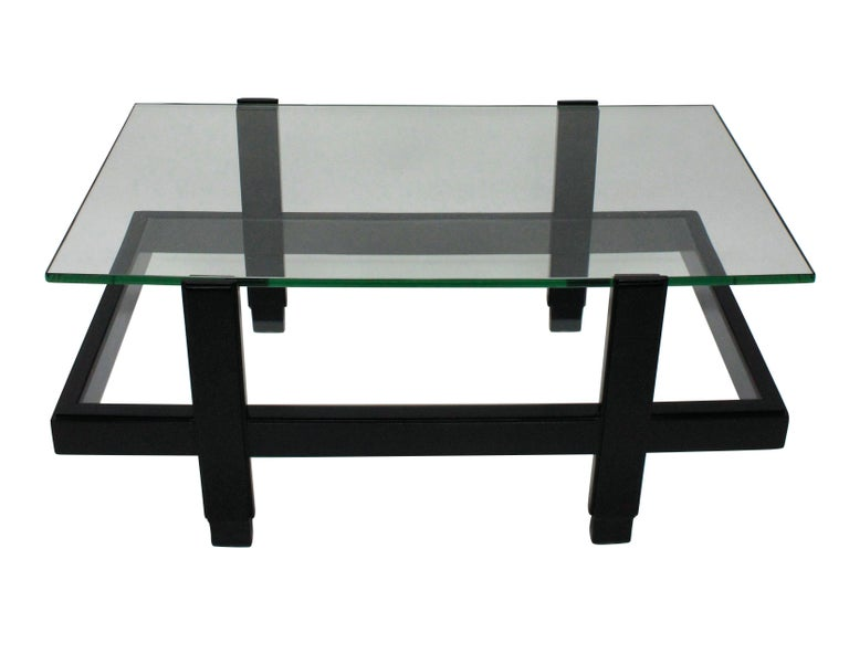 Mid-Century Modern Ebonized Two-Tier Occasional Table