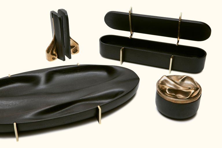Ebonized Walnut and Brass Oval Tray by Vincent Pocsik for Lawson-Fenning For Sale 2