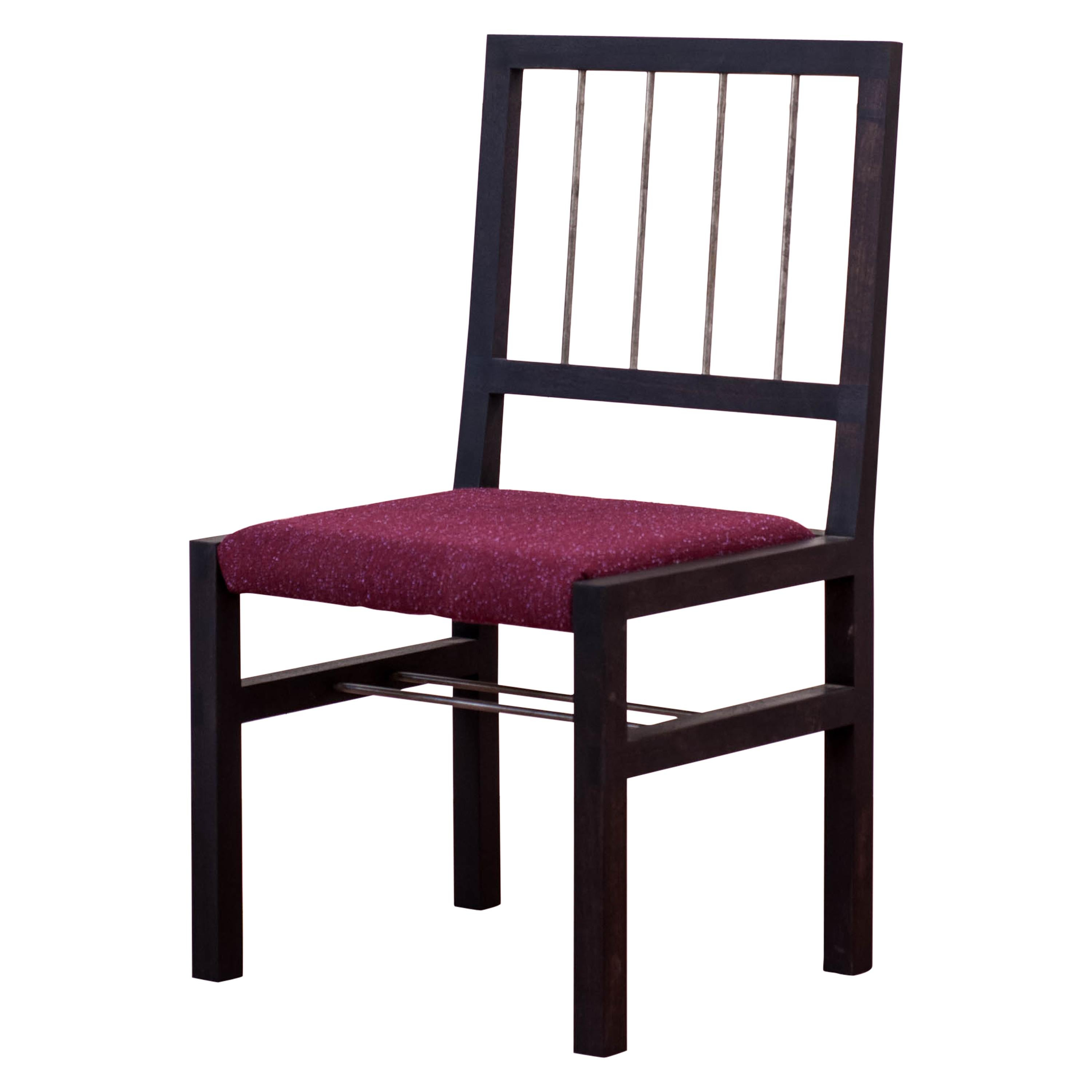 Ebonized Walnut Clayo Chair with Silver Plated Bronze Rungs, Kvadrat Upholstery