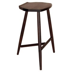 Ebonized Walnut Counter Height 3-Legged Wood Hudson Stool, in Stock