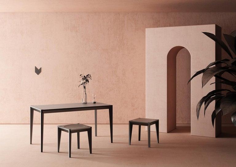 Italian Ebonized Wood All-Black MiMi Breakfast Table by Miduny, Made in Italy For Sale