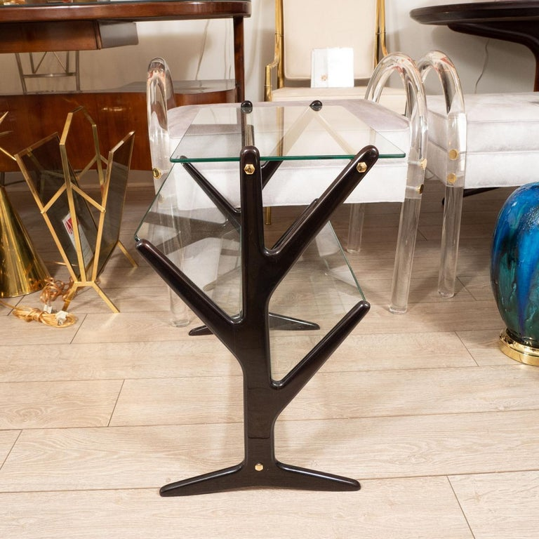 Italian Ebonized Wood and Glass Side Table / Magazine Rack For Sale