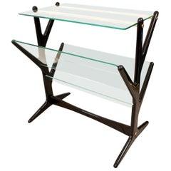 Ebonized Wood and Glass Side Table / Magazine Rack