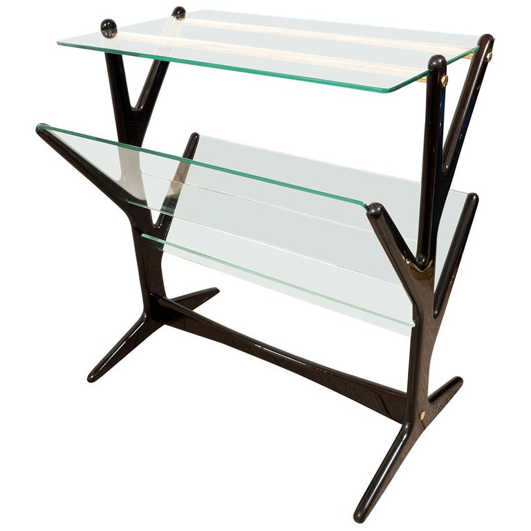Ebonized Wood and Glass Side Table / Magazine Rack For Sale