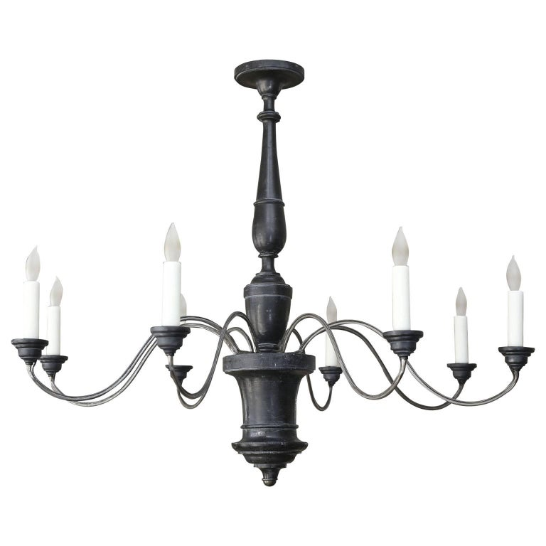 Ebonized Wood and Iron Chandelier In Good Condition For Sale In Houston, TX