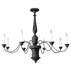 Ebonized Wood and Iron Chandelier