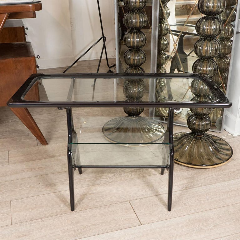 Mid-Century Modern Ebonized Wood Table with Glass Inserts For Sale