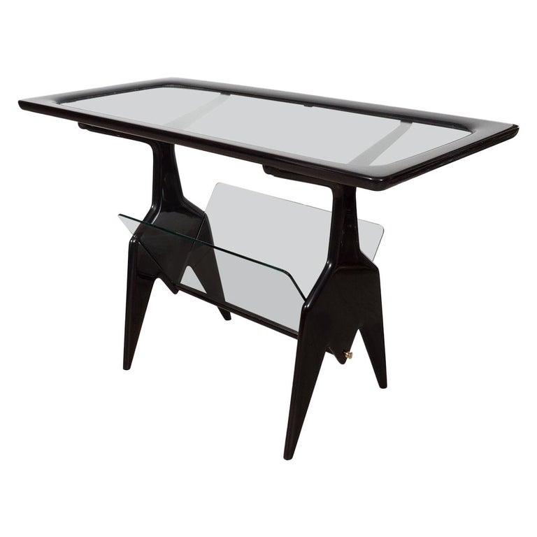 Ebonized Wood Table with Glass Inserts For Sale