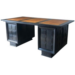Ebonized Wood with Light Brown Leather Top Cubist Design Desk, France, 1940s