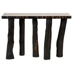Ebony and Galuchat Shagreen Console Table, France