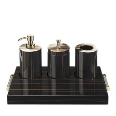 Ebony and Gold Bathroom Accessory Set and Tray
