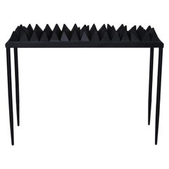 Ebony Black Wood Sculpture Console with Metal Base in Black Color