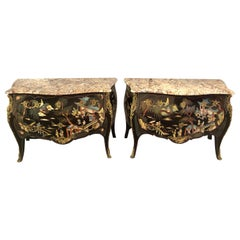 Ebony Bombe Chests Commodes Chinoiserie Louis XV Style Marble Top, a Pair