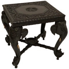 Ebony Carved Side Table