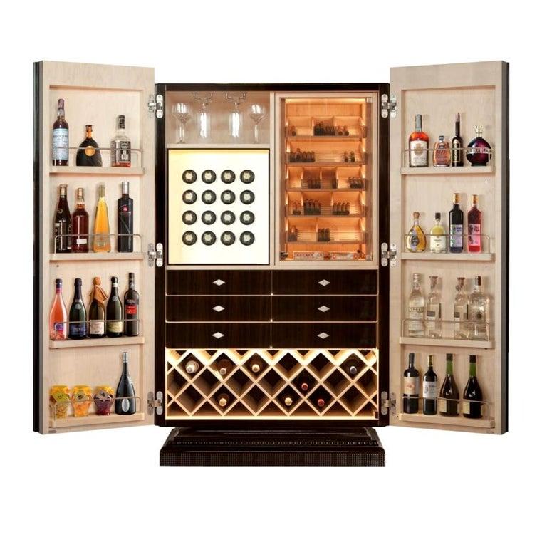 Modern Ebony Cigar Humidor, Bar & Watch Winder, by Massimo de Munari, Handmade in Italy For Sale